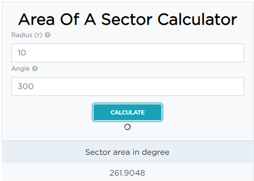 How to use area of a sector calculator