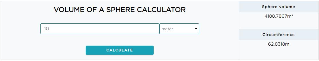 Diameter of a sphere